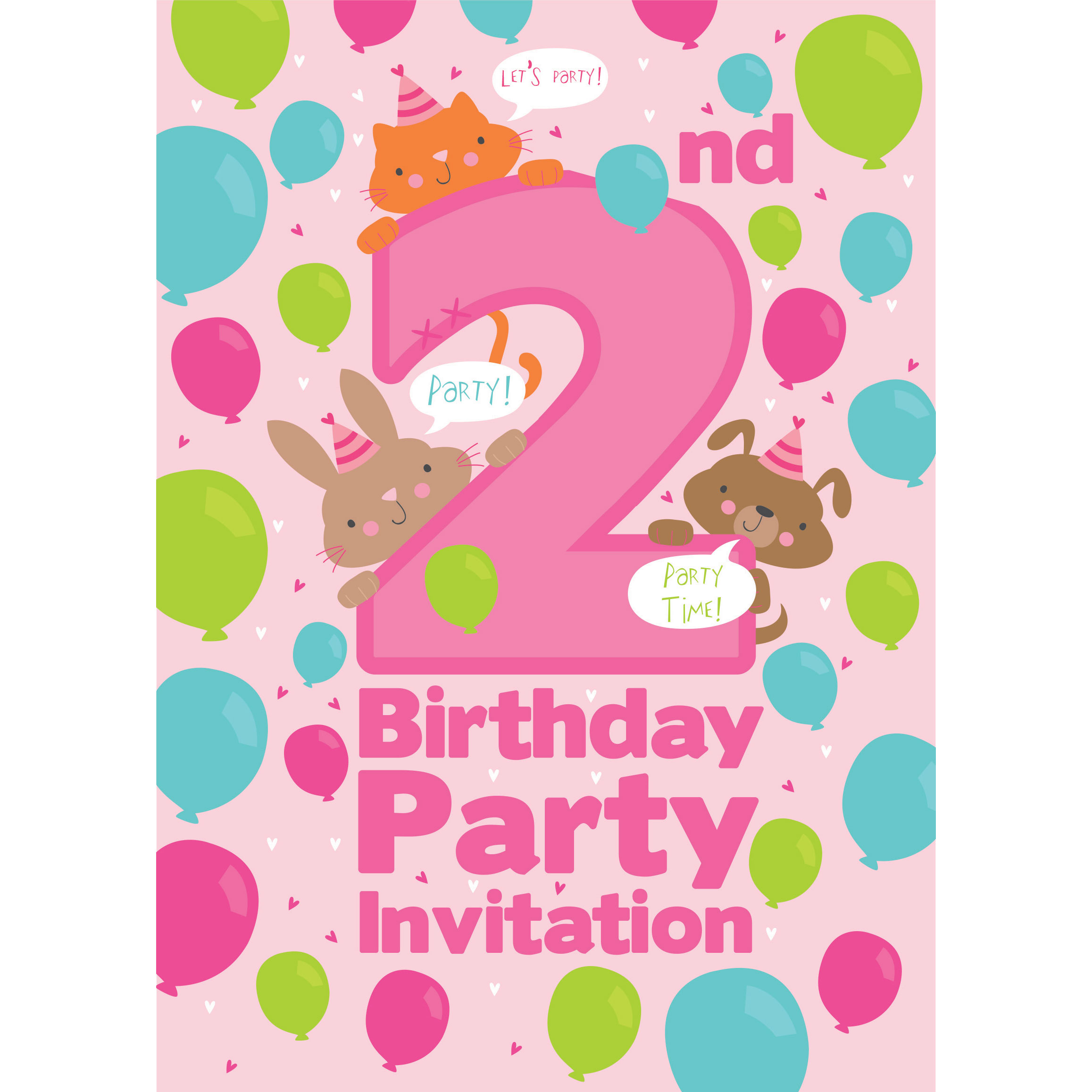 2nd Birthday Party Invites - Medium