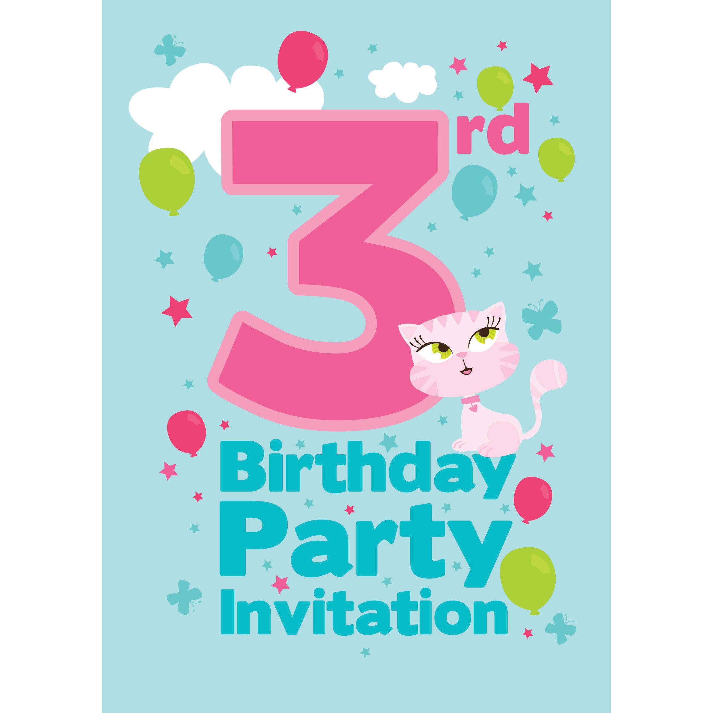 3rd Birthday Party Invites - Medium