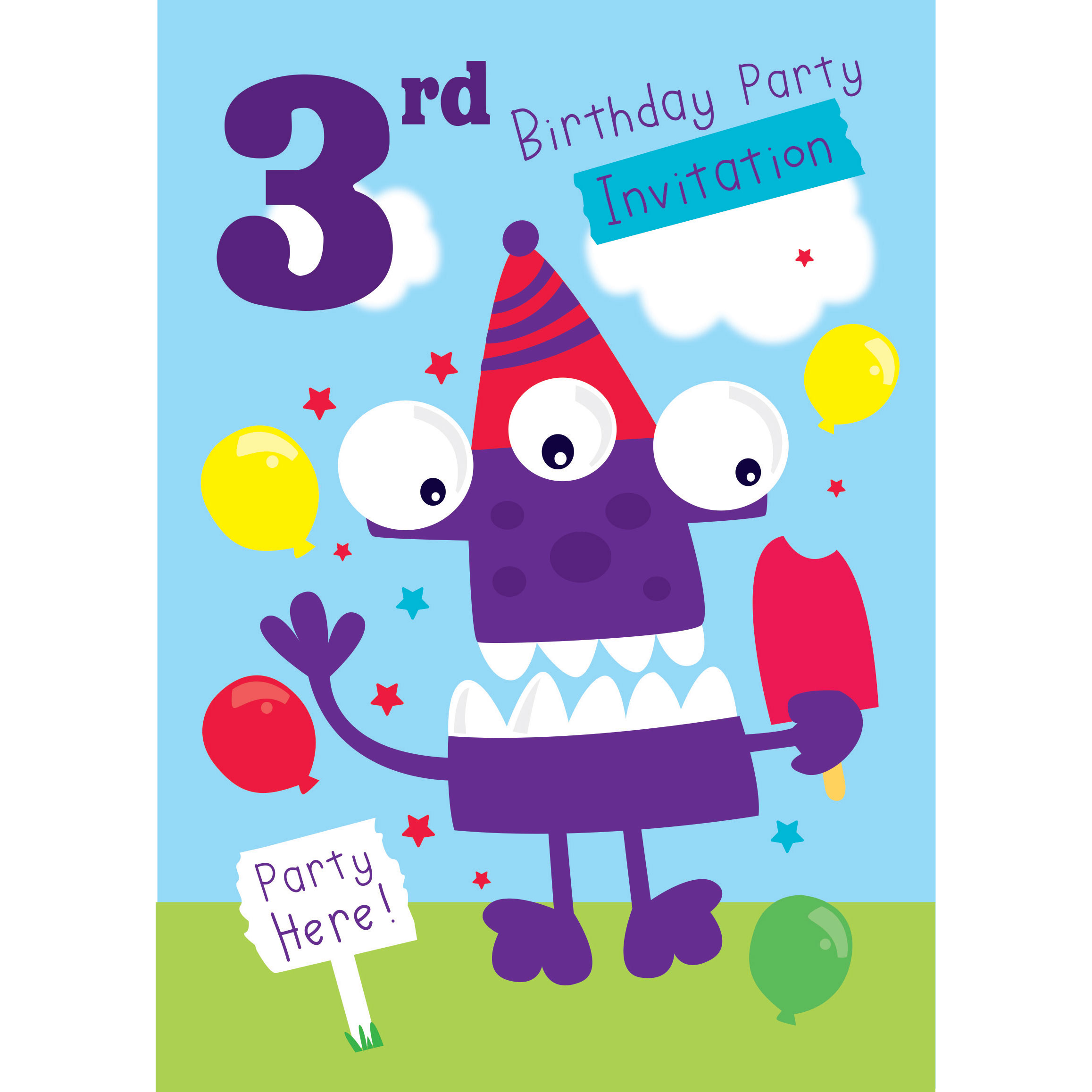 Big happy birthday badges party products party delights - 3rd Birthday Party Invites Medium