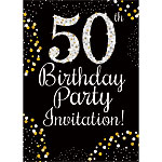 50th Birthday Gold Invitation Cards - Medium
