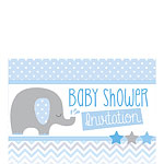 Baby Shower Invitation cards Blue Elephant - Small