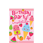 Birthday Fruit Ice Creams Invites - Small