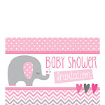 Baby Shower Invitation cards Pink Elephant - Small