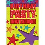 Stars Birthday Invitation Cards - Medium