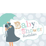 Baby Shower Invitation cards Umbrella Spot - Medium