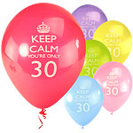 "Keep Calm 30th Balloons - 10"" Latex"