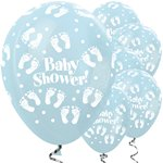 "Satin Blue Baby Shower Balloons - 12"" Latex"