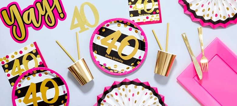 Pink & Gold 40th Birthday Party Supplies