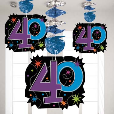 40th birthday party supplies party delights for Decoration 40 ans homme
