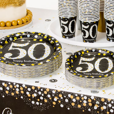 50th birthday party themes ideas party supplies party delights. Black Bedroom Furniture Sets. Home Design Ideas