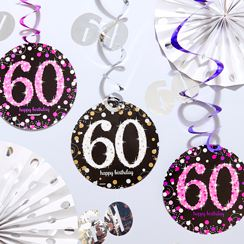 60th Blue Glitz Decorations