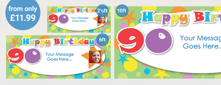 90th Birthday Personalised Banners