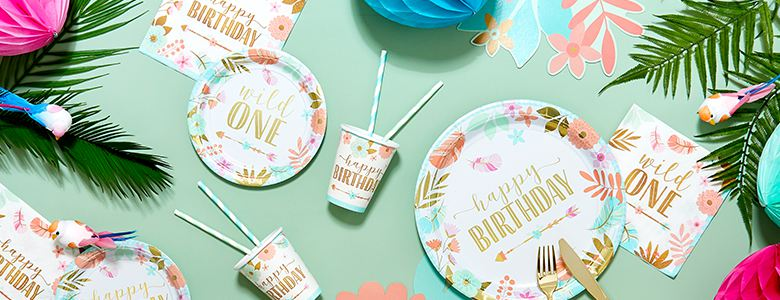 8 ~ Party Supplies Cake 1st BIRTHDAY Boho Girl Wild One SMALL PAPER PLATES