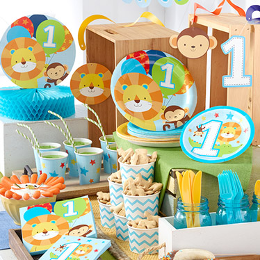 First birthday party supplies party delights for Baby boy birthday party decoration
