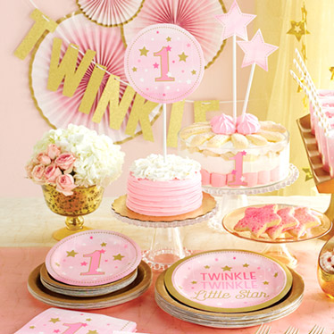 First birthday party supplies party delights for Baby girl 1st birthday party decoration ideas