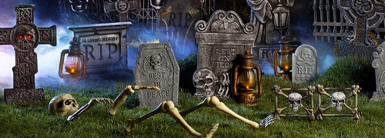 halloween skeleton tombstone decorations