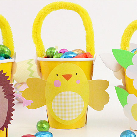 How to make easter baskets easter basket template party delights easter chick printable basket decoration negle Gallery