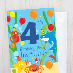under the sea balloons childrens invitations - Under The Sea Party Invitations