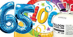 65th-100th Birthday Balloons & Helium