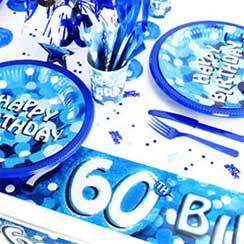 60th Birthday Blue Sparkle