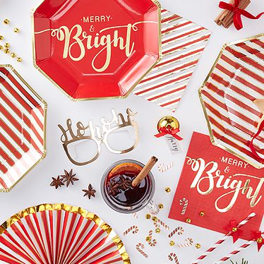 Merry \u0026 Bright  sc 1 st  Party Delights & Christmas Tableware Cups Plates Napkins | Party Delights