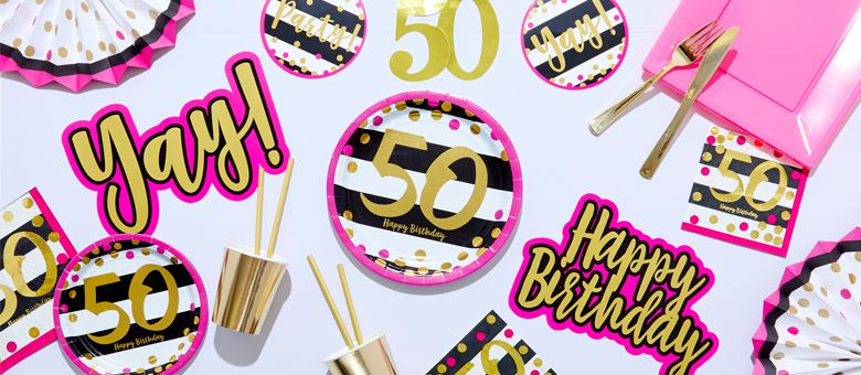 Pink & Gold 50th Birthday Party Supplies