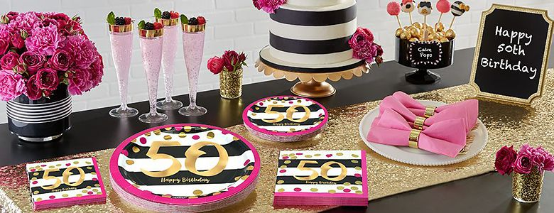 Pink Gold 50th Birthday Party Supplies