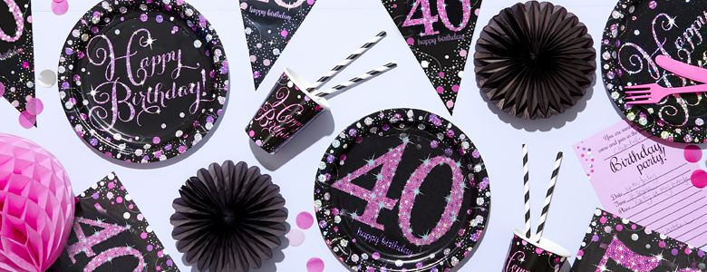 Pink Celebration 40th Party Supplies