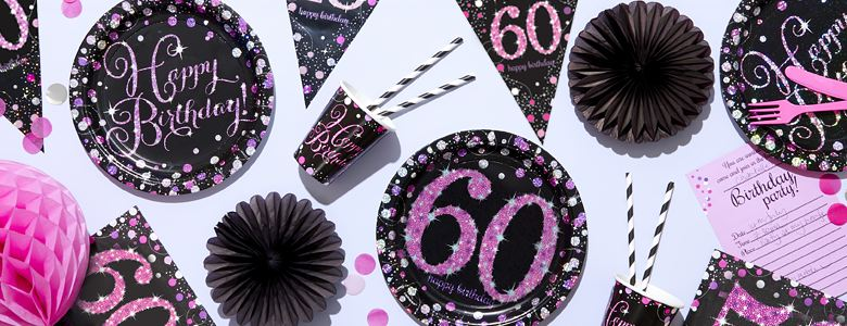Pink Celebration 60th Party Supplies