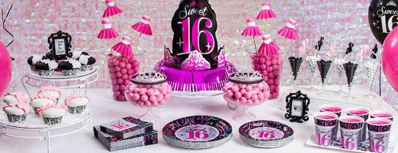 Sweet 16 birthday party supplies party delights for Home sweet home party decorations