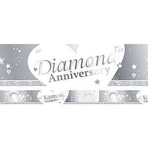 60th Diamond Wedding Anniversary Banner - 2.7m