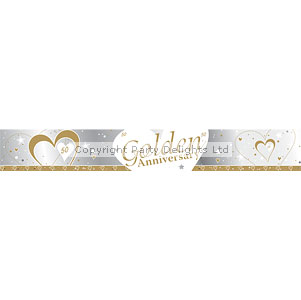 Loving Hearts Golden Anniversary 9ft Banner