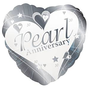 Loving Hearts Pearl Anniversary Balloon - 18