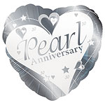 "Loving Hearts Pearl Anniversary Balloon - 18"" Foil"