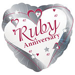 "Loving Hearts Ruby Anniversary Balloon - 18"" Foil"