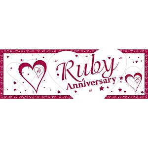 40th Ruby Wedding Anniversary Giant Deep Banner - 1.5m x 0.5m
