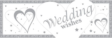 Loving Hearts Wedding Wishes Giant Deep Banner - 1.5m x 0.5m