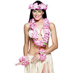 Pink Flower Lei Set  Fancy Dress