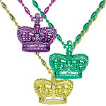 Mardi Gras Bead Necklaces with Crowns