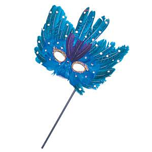 Masks (Stick) Petrol blue Feather mask with stick