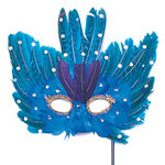 Blue Feather Masquerade Mask on Stick