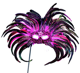 Magenta/Black Feather Mask with Stick