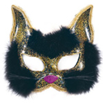 Cat Mask - Gold and Black Glitter Fancy Dress