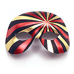 Black, Gold & Red Domino Masquerade Mask
