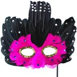 Pink & Black Feather Masquerade Mask on Stick