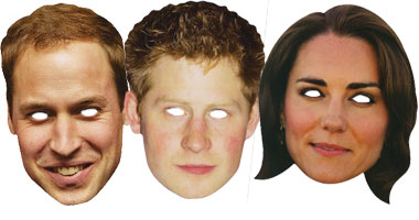 William, Harry & Kate - Celebrity Mask Pack