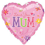 "Love You Mum Pink Heart Balloon - 18"" Foil"
