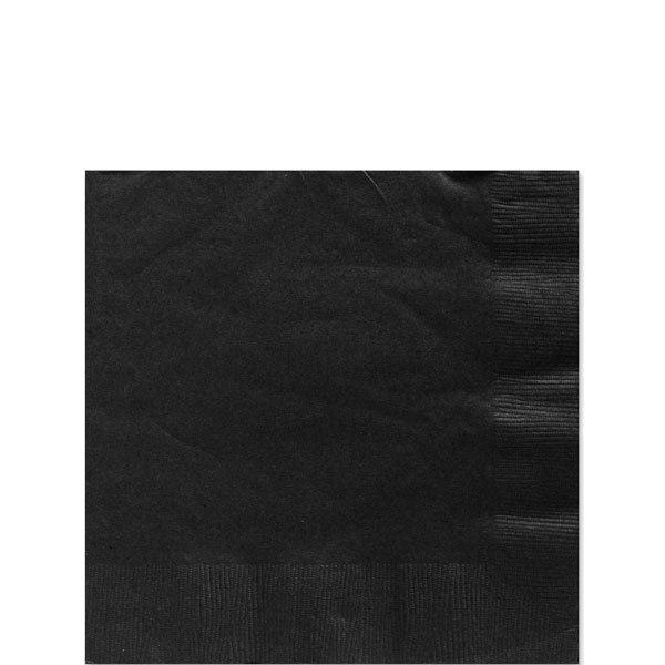 Black Beverage Napkins - 3ply Paper