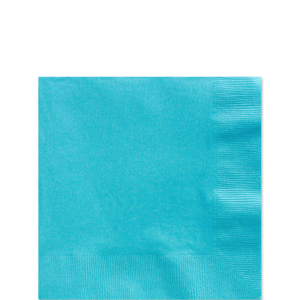 Turquoise Beverage Napkins - 25cm Square 2ply Paper