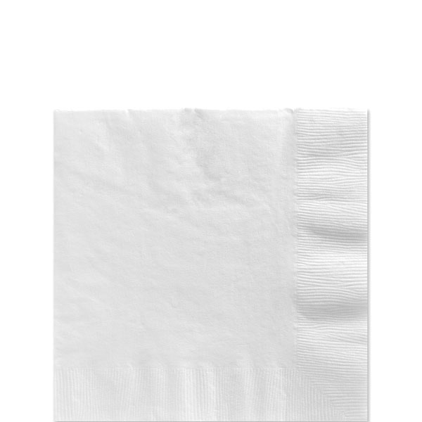 White Beverage Napkins - 2ply Paper